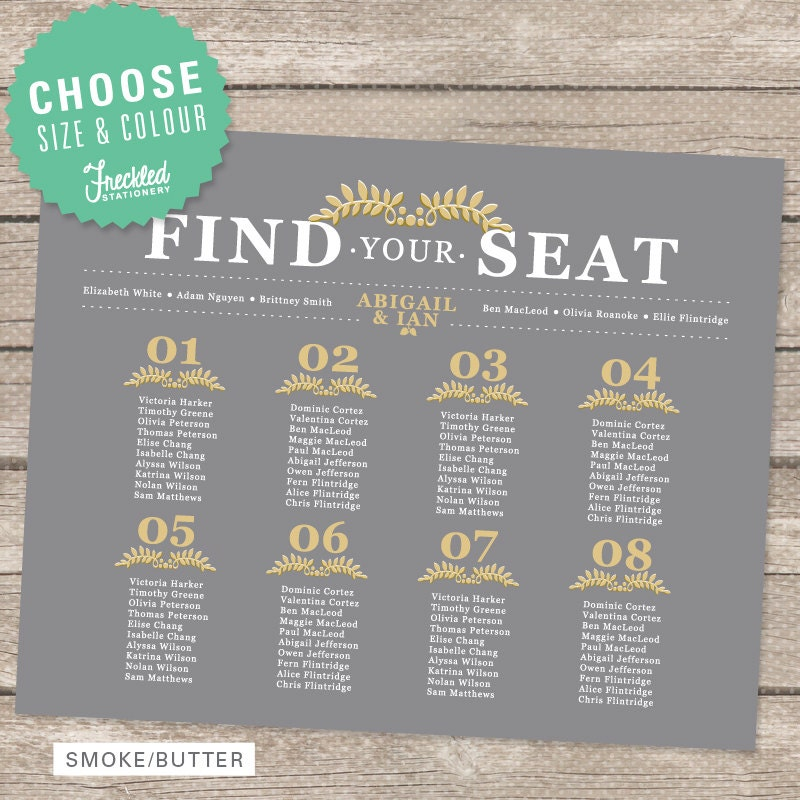 Wedding Seating Chart Printable Pdf By Freckledstationery