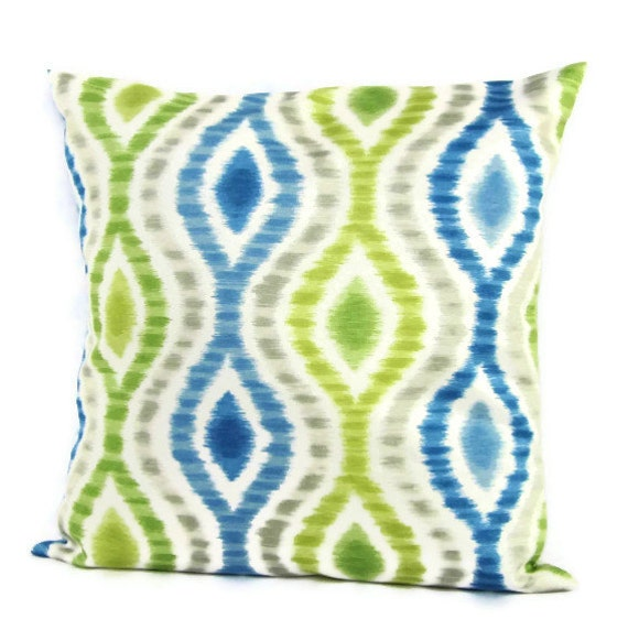 Lime Green And Blue Throw Pillows : Sale Blue Green Pillow Cover Geometric Gray White Home Decor