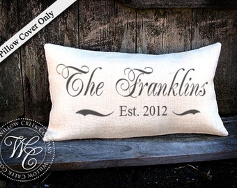 Personalized WEDDING Gift BURLAP PILLOW Cover-  Pillow with Last Name & Established Date