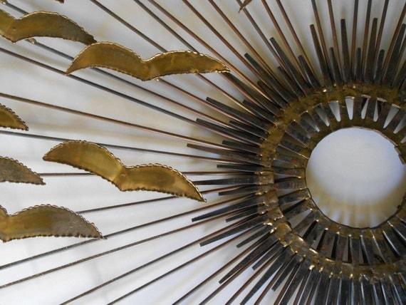 C Jere Style Metal Wall Sculpture Sunburst Birds Mid Century