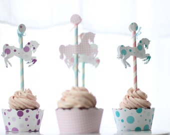 Merry-Go-Round/Carousel Horse Cupcake Topper/Pick- SET OF 12
