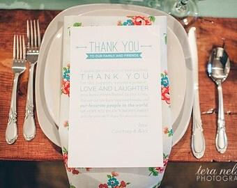 Wedding Table Thank You Card / Wedding Menu Thank You / Wedding Place Setting Thank You Card / Printable Thank You / Wedding Download