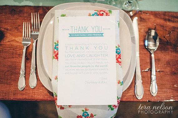 Wedding Table Thank You Card Wedding Menu Thank You