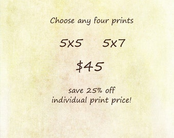 Discount Set - Choose any FOUR Prints - 5x5 or 5x7 - Save 25%