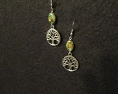 Yggdrasil, Tree of Life earrings with natural stone accents