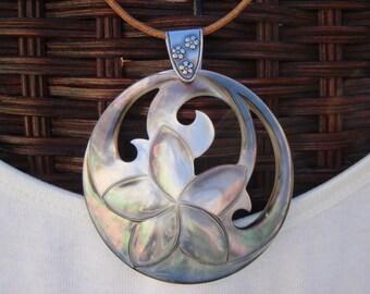 Black Mother of Pearl Necklace, Plumeria Pendant, Black Mother of Pearl Plumeria, Sterling Silver Necklace, Hawaiian Necklace, OOAK