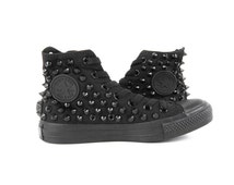 Original Converse AllStar Chuck Taylor high top studded  Converse stud BLACK spike on Black Shoes