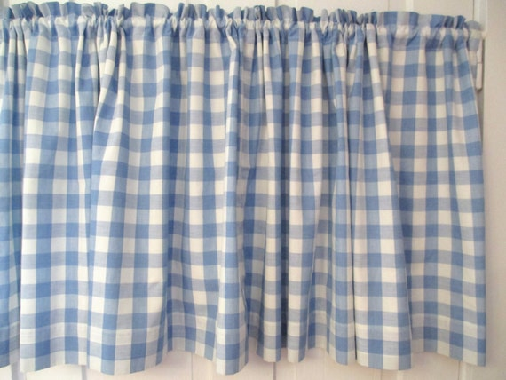Vintage Blue White Gingham Cafe Curtain Cotton Lined