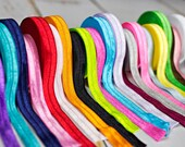 Fold Over Elastic - You pick 10 Yards Solid FOE - White Pink Black Purple Green Red Elastic