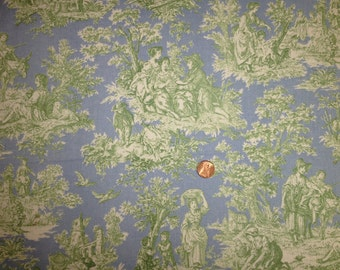 Blue & Green Toile Country Life Cotton Waverly Home Decorator Fabric for Spring