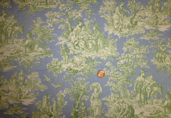 Blue & Green Toile Country Life Cotton Waverly Home Decorator