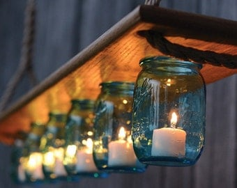 mason lights - vintage inspired mason jar chandelier