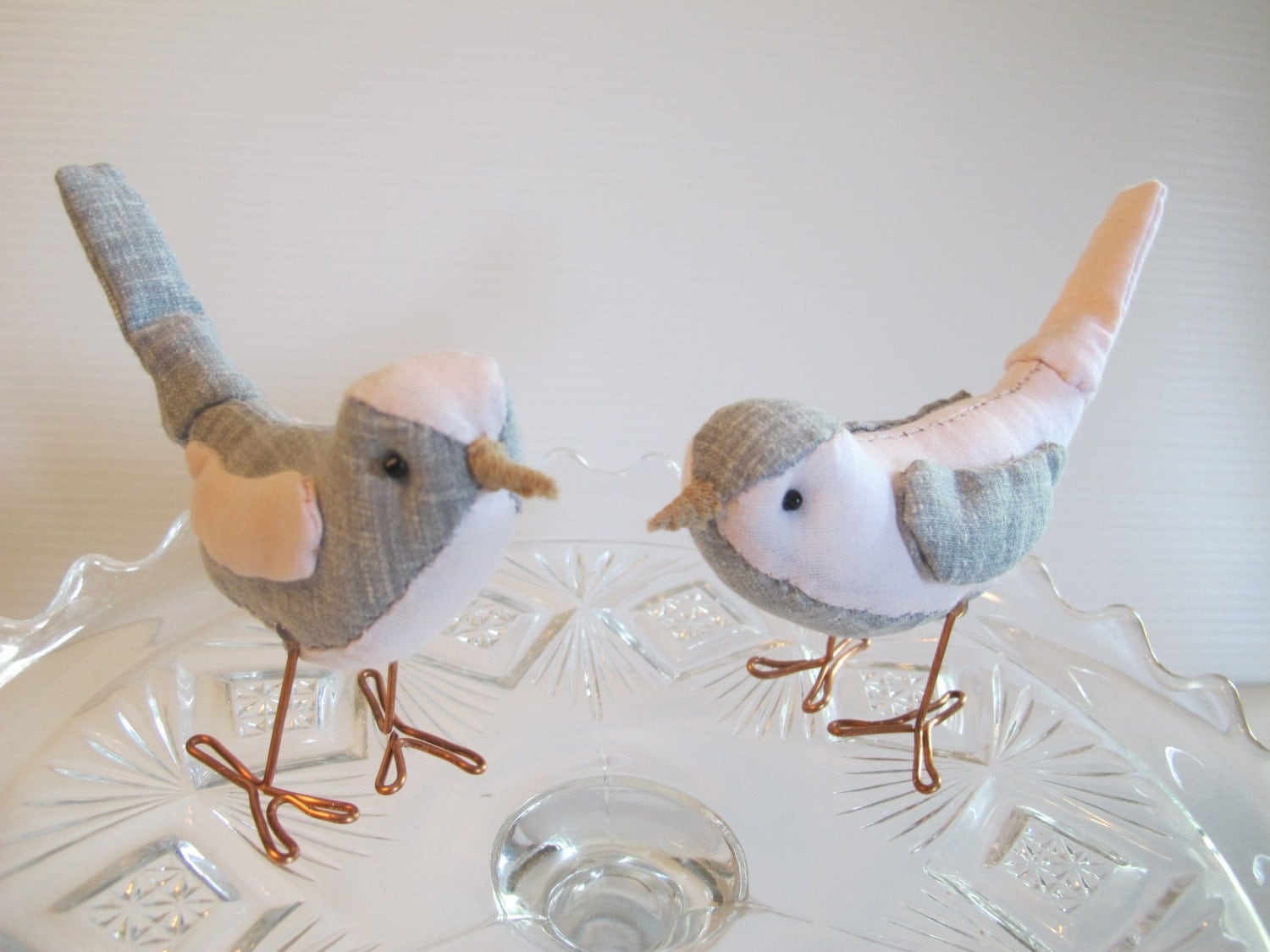 wedding cake toppers birds uk wedding cake topper birds pink and gray fabric birds cake 26398
