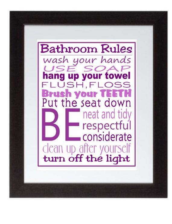 purple bathroom rules wall art poster 8x10 digital art download