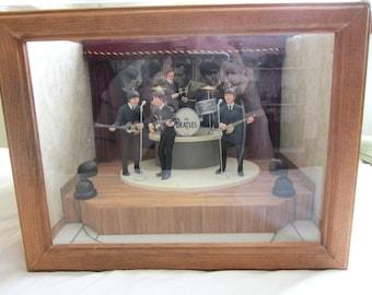 Vintage Beatles Ornaments in Handmade Display Case Stage