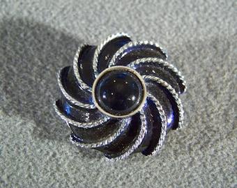 Vintage Silver  Tone bold  Enameled midnight blue rhinestone  pin  brooch   W