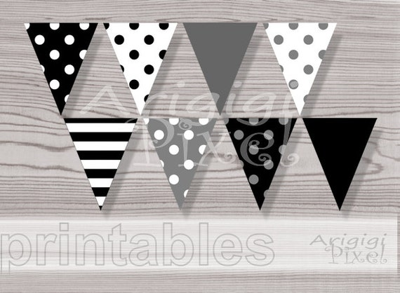 Black white banner polka dot banner striped pennant for Diy all white party decorations
