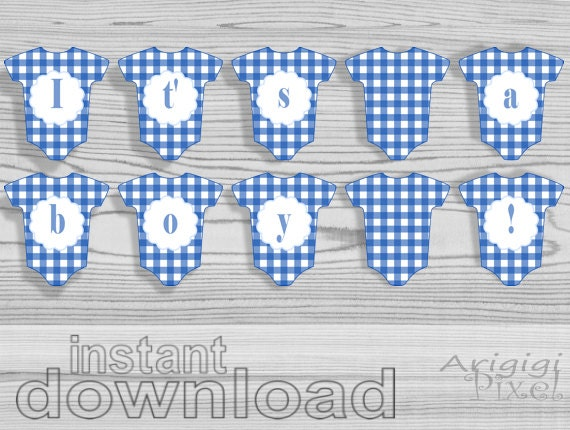 itu0027s a boy baby shower banner printable baby cloth banner boy babyshower blue party decoration blue gingham pennant instant download