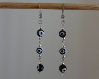 Black and White Dangle Earrings, Black and White Drop Earrings, Evil Eye Earrings, Surgical Steel Hook Earrings