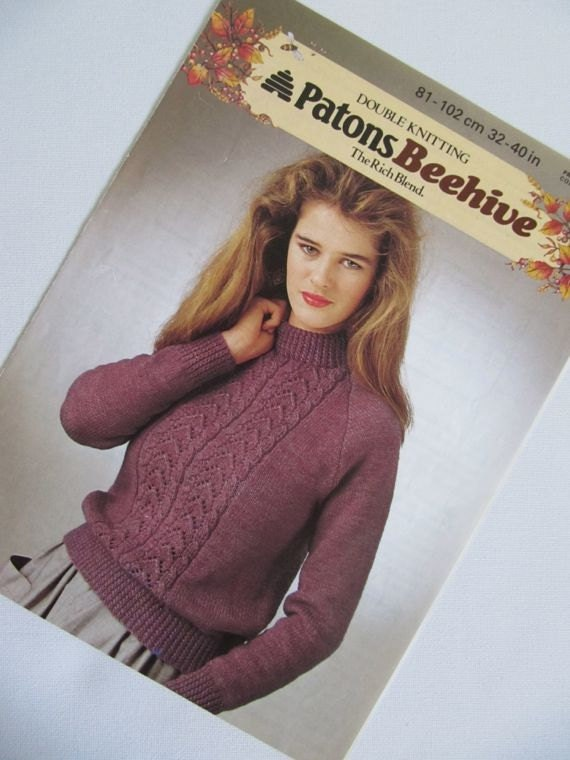 Chunky Knit Jumper Pattern : Chunky Lace Knit Knitting Pattern Ladies Jumper 81cm