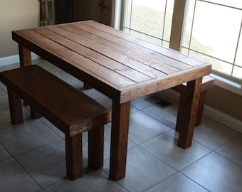 3 Foot X 5 Foot American Walnut Stained Solid Wood Table With Two Benches  Set Custom