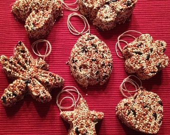 set of 6 bird seed ornaments or favors -medium size