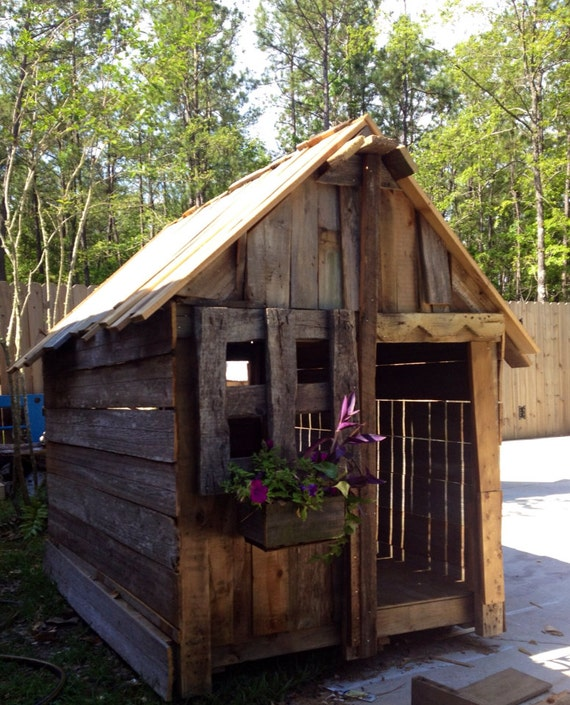 Children outdoor playhouse rustic by shopsweetlysalvaged for Kids wooden play house