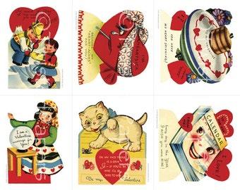 Vintage Classroom Valentines, 1940s-1950s Kids Valentine Clip Art, Actual Size  Collage Sheet 008