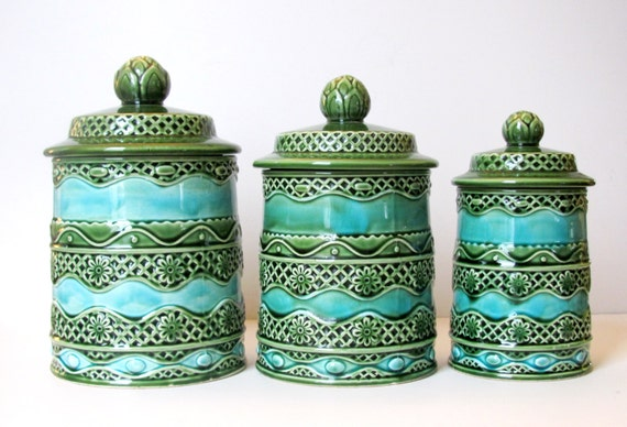 Retro Kitchen Canisters, Green, Blue, Kitchen Decor, Bathroom