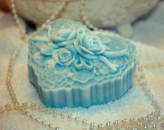 Heart Victorian Style Soap Blue