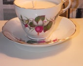 Floral Purple Teacup Candle