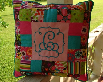 Monogrammed Patchwork Pillow