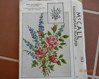 McCall Kaumagraph Transfer, Roses and Delphiniums in Cross-Stitch, c.1944