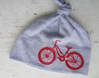 Red Bike Printed on Heather Gray Beanie Hat