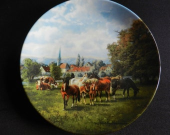 Limited collection plate Seltmann Weiden cows and horses in the village coupling 1990