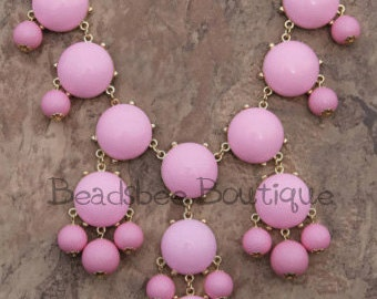 JCrew Inspired Light Pink Bubble Necklace, Bubble Necklace, Bib Necklace, Light Pink, Pink, Statement Necklace