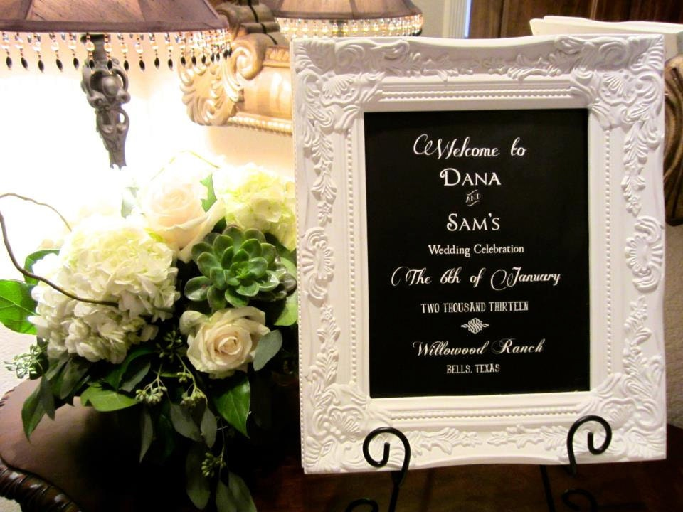 elegant wedding guest book sign with frame