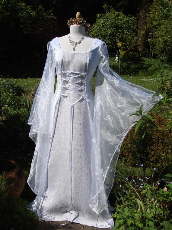 White and lilac celtic goddess medieval renaissance for White and lilac wedding dress