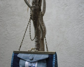Clutch Purse scooters in Blue denim  and Purse Chain