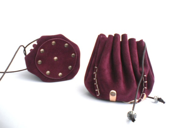 Drawstring Leather Pouch Coin Purse Jewelry Bag By Radileather
