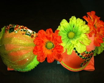 EDC, rhinestone & daisy Rave, Hippie, costume, dance, festival, coral and lime green decorated bra