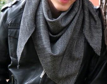 Men Scarf checkered pattern checkers, Men scarf White Black. Men, Man, Guys, Personalized Men Scarf, Fabric Fringeed Scarf