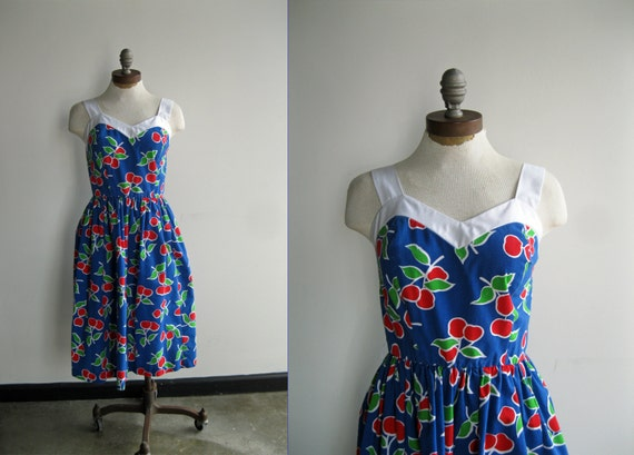 1980s Red White Blue Novelty Cherry Fruit Sweetheart Summer Sundress