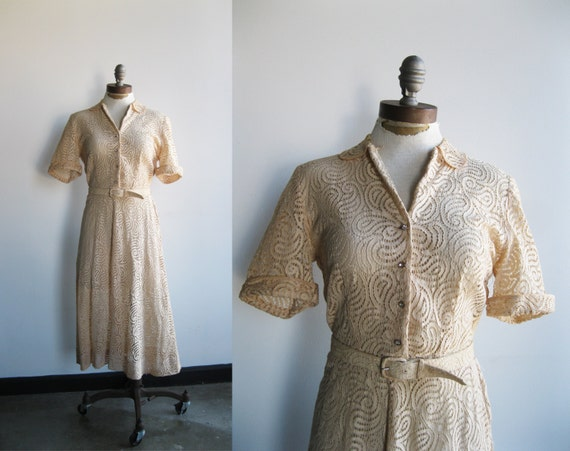 1940s Cream Lace Paisley Midi Dress with Rhinestone Buttons Peter Pan Collar and Matching Belt