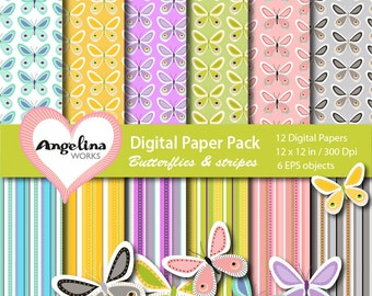 12 Digital Paper Butterflies and Stripes. 9 vector Scrapbook elements in 1 EPS
