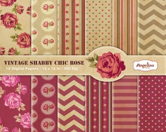 Vintage Shabby chic Rose digital Paper Pack for invites, card making, digital scrapbooking, wallpapers