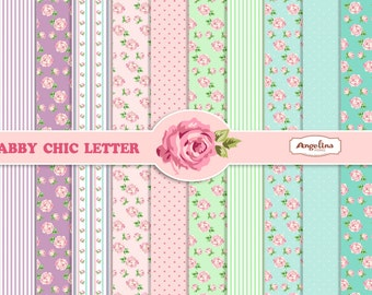 12 Shabby Chic Rose Lilac Green and Aqua blue. Digital Scrapbook Papers 8x11 inch for invites, letters, card making.