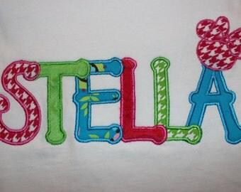 Julia Alphabet Font Disney Appliqued T-Shirt