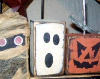 HAlloween Friends pumpkin mummy ghost frankenstein Primitive Sign
