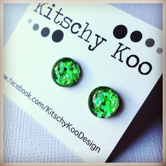 FREE SHIPPING - Glitter Earrings - Glass Stud - Surgical Steel - Green Glitter - Handmade - Sparkle Gold Green Silver Red Blue